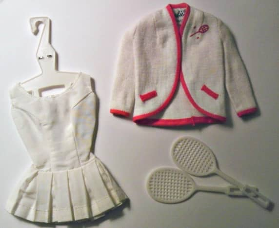 Tennis, Anyone? Barbie Fashion #961. Note the original Barbie label (and the incorrect tennis racquets).