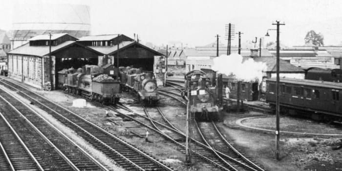Northern Scotland was out of the way as far as railway systems went. Here's a view of one of the outlying sheds with locomotives lined up and ready for duty