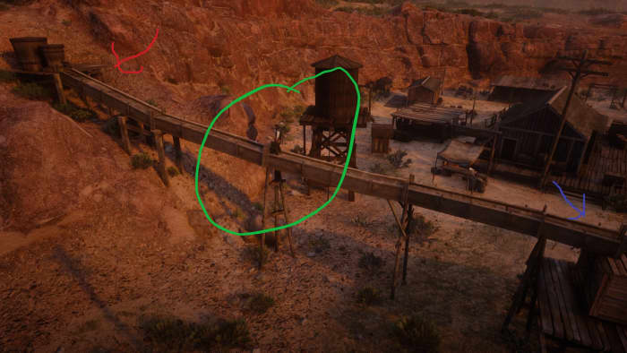 If you like precision parkour follow the red arrow. If you like climbing take the blue arrow. Either way the green circle is where the map is in the not-so-perfect green circle.