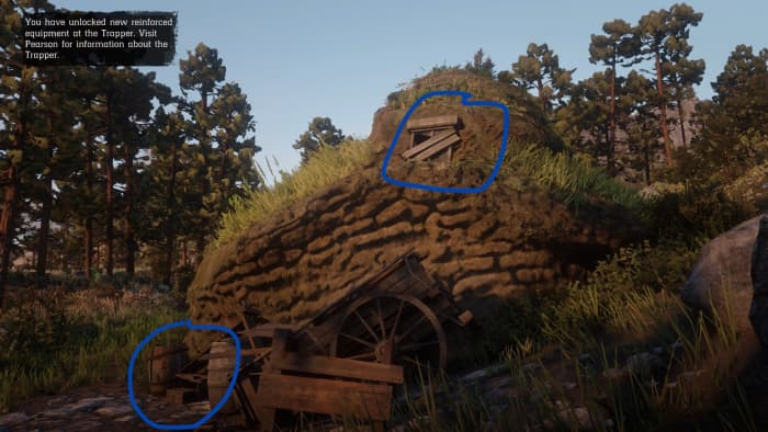 The blue circle above shows where you can find the next treasure map. The blue circle below is where you can find the Poisonous Arrow Pamphlet.