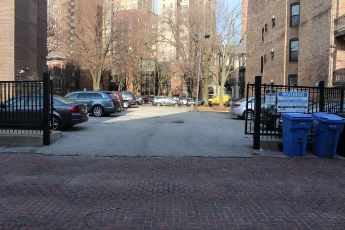 The parking lot that use to be the garage where the St. Valentine's Day Massacre took place. Picture taken in March 2019.
