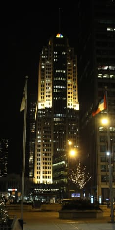 NBC Tower, at night, picture taken by accident in December 2015. Not perfect for the in-game comparison but it does look gorgeous at night.