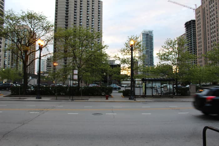 The location of the flower shop is now a bus stop. Picture taken in December 2015.