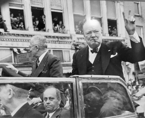 Truman and Churchill arrive in Fulton, Missouri, March 5, 1946