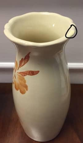 Repaired chip in vase