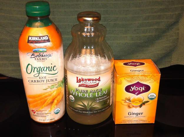 Carrot juice, aloe vera, and ginger tea