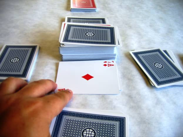 With such a great hand, player is left with no choice but to discard her high-point ace. Discarding the ace ends the player's turn.