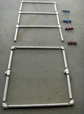 Individual pieces of the ladder, laid out to indicate assembly.  The upper assembly fits into the T's of the lower assembly
