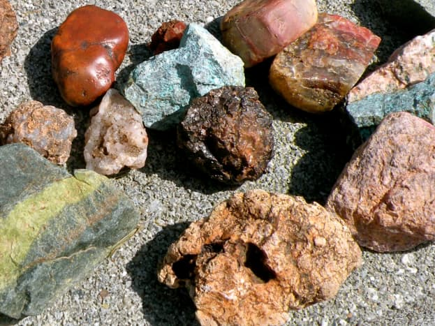 Just a few of the pretty rocks displayed on my garden wall.