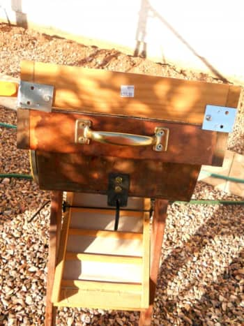 Front of a dry washer - Hopper on top, riffle box below