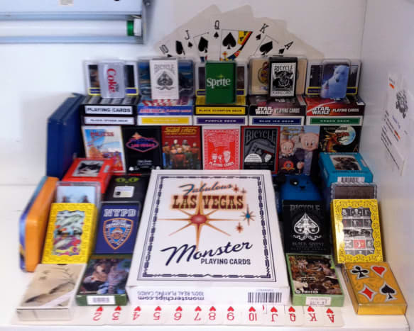 My decks of cards on display at the county fair.