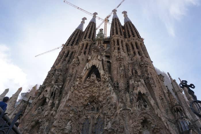 La Sagrada Familia still under construction. The picture shows one of the facades.