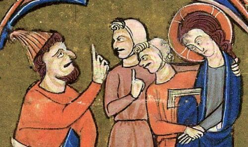 Antisemitic art from the middle ages dramatizing physical differences.