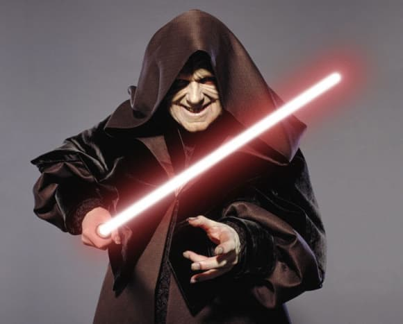 Darth Sidious with one lightsaber