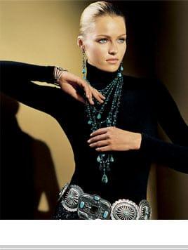 #1 elegant Ralph Lauren concho belt with black turtleneck and turquoise necklace