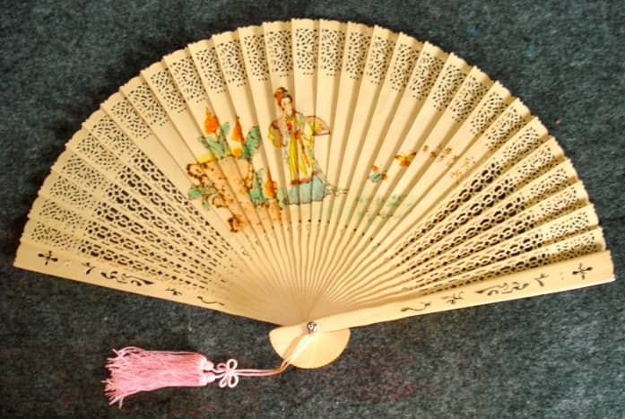 Pierced Bamboo and Painted Fan, 1990s, Taiwan