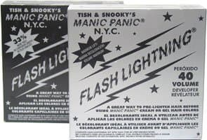 Recommended: Manic Panic Flash Lightning Kit. It comes in two strengths, 30- and 40-proof. 40-proof is one of the strongest bleaches you will find on the market, so it's great for dark hair.