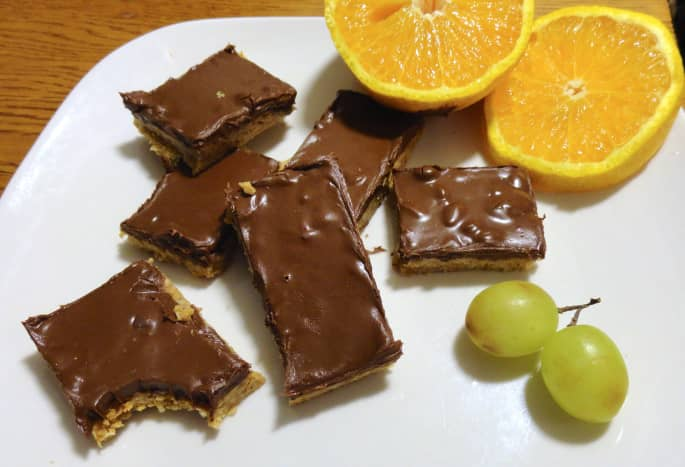 My no-bake peanut butter chocolate oat bars are a big hit with vegans and omnivores alike.
