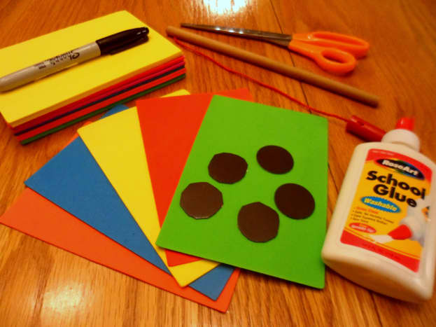 The supplies you will need to create foam fish.