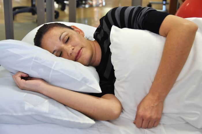 If side-sleeping, try to keep shoulders stacked