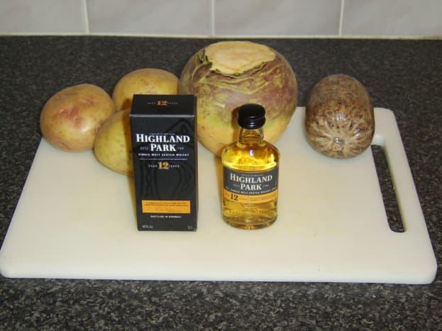 The principal ingredients of haggis, tatties and neeps