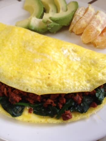 Egg omelet with gluten-free low-fat chorizo (Trader Joe's)