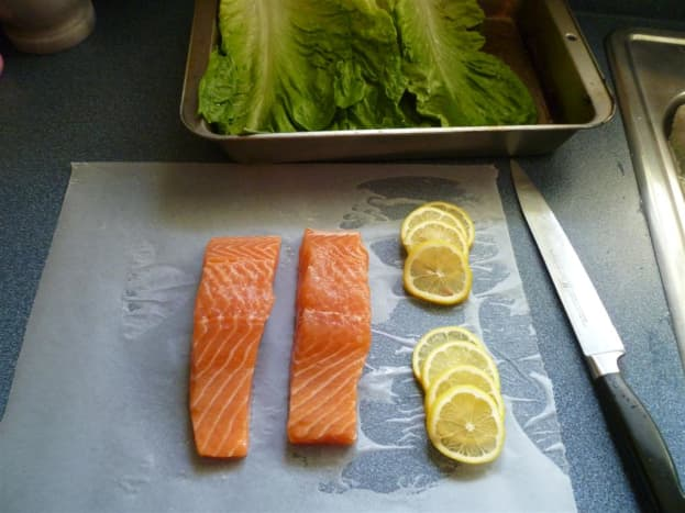 Just a few simple ingredients needed. Salmon fillets, romaine lettuce, fresh basil and a lemon...that's it!