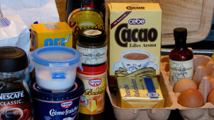 Ingredients for this dark chocolate bundt cake with a rich Kahlua coffee glaze.