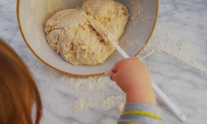 Mixing the dough.