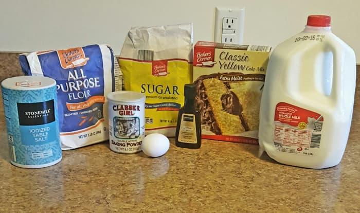 Ingredients for cake batter pancakes.