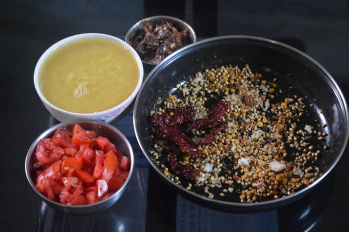 Step one: Keep ready the ingredients for making Mysore rasam (lentil soup).