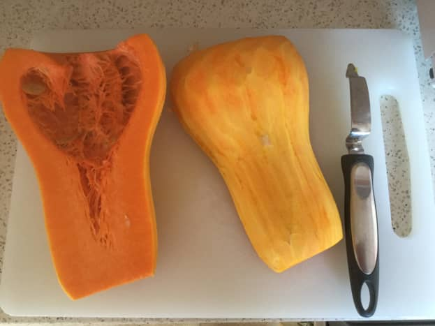 Peel the butternut squash and scoop out the seeds