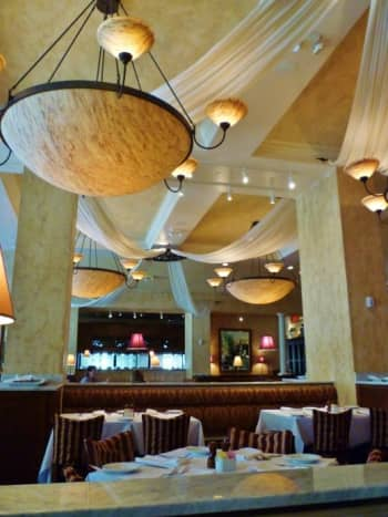 View of chandeliers in dining room