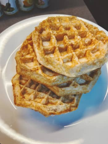 I used ready-made waffles. You're welcome to make waffles from scratch. I bet that tastes even better!