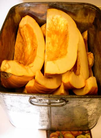 Pumpkin, cut into sections for baking. You may also stew pumpkin, using a small amount of water in the bottom of a large pot.