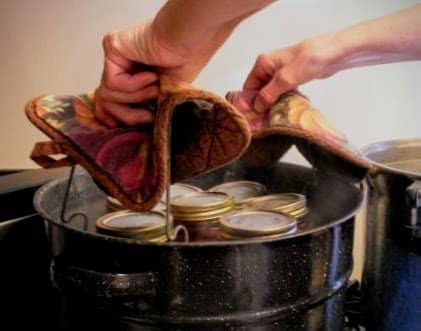 Carefully place rack of filled jars into a canner of simmering water. Beware of splashes and steam burns! Put on lid.