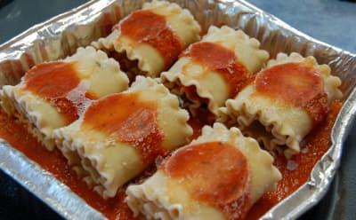 Lasagna Rolls in pan ready to bake