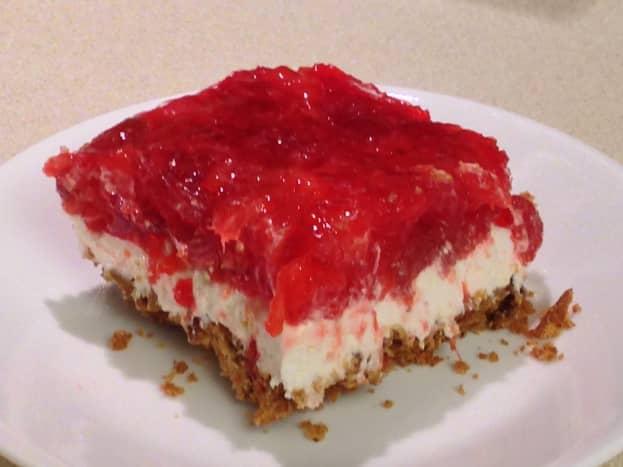 Serving of Strawberry Pretzel Dessert
