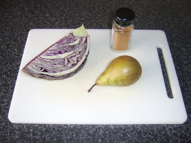 The ingredients: red cabbage, pear and nutmeg.
