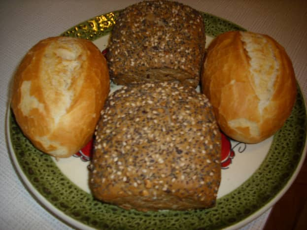 Whole wheat and wheat bread rolls.