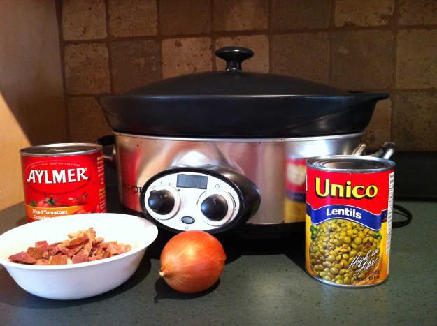 Ingredients for ham and lentil soup