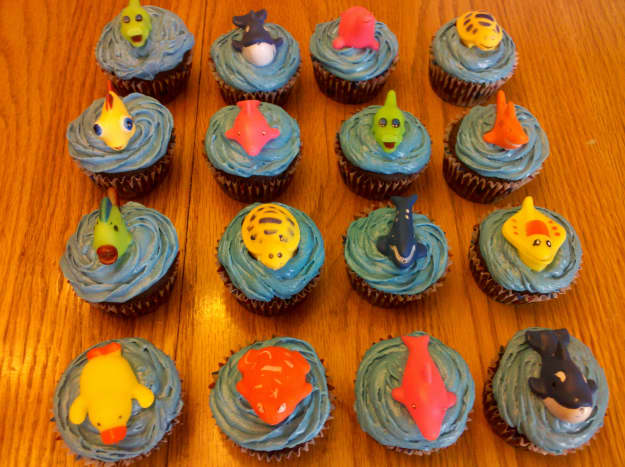 Our finished under the sea cupcakes!
