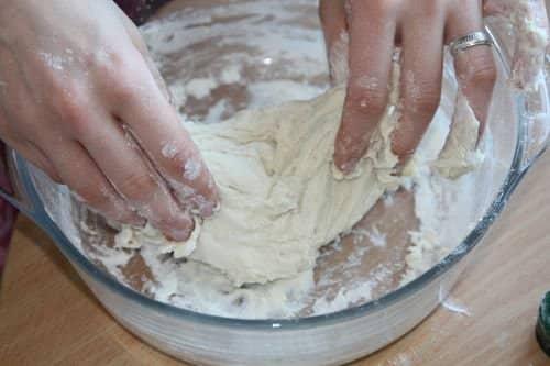 Preparing the dough.