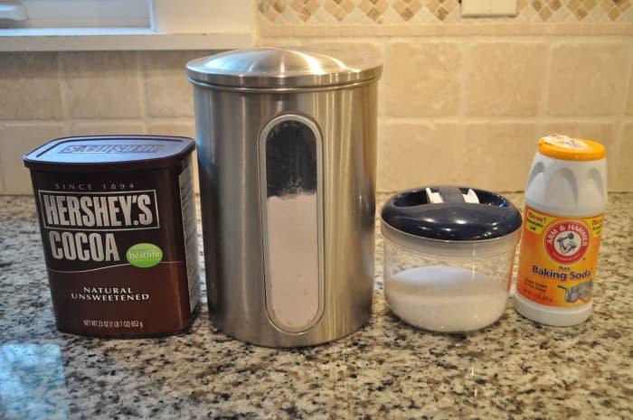 Dry ingredients in this cake: cocoa powder, flours, salt, baking soda