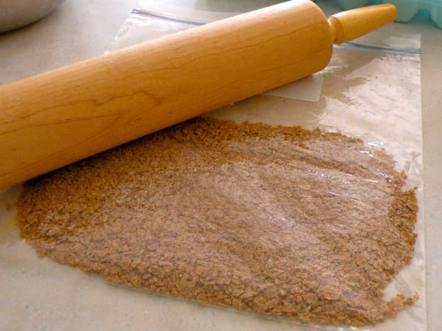 Crush bran flakes by placing in a zip lock bag and rolling with a rolling pin.
