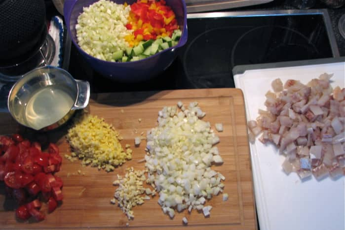 Fish soup ingredients, after chopping.