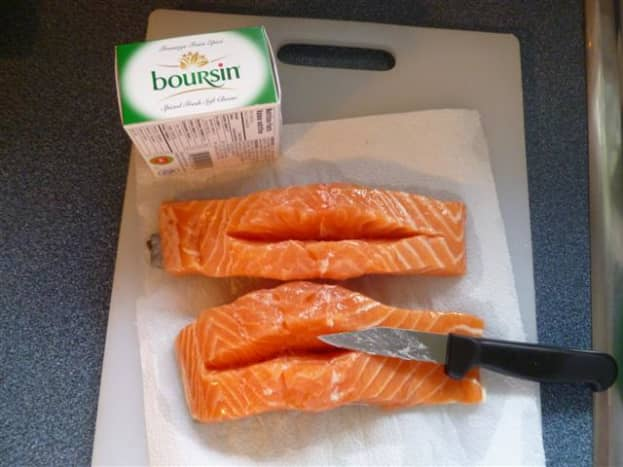 Make a slit in the fillet, being careful not to cut through to the skin