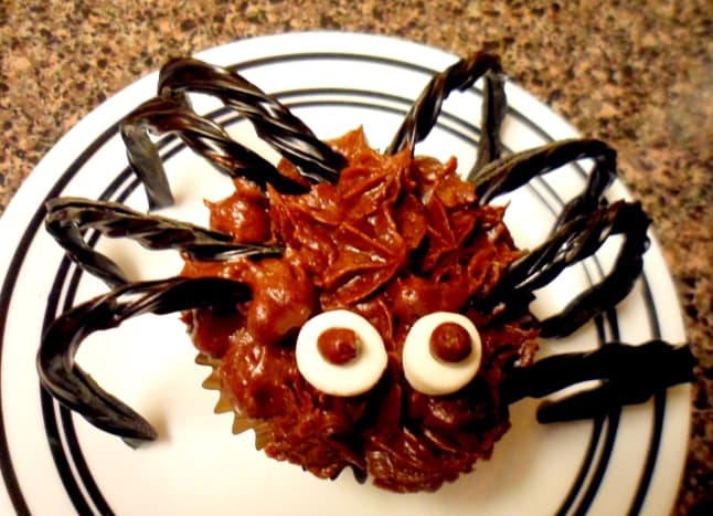 Our finished spider cupcake.