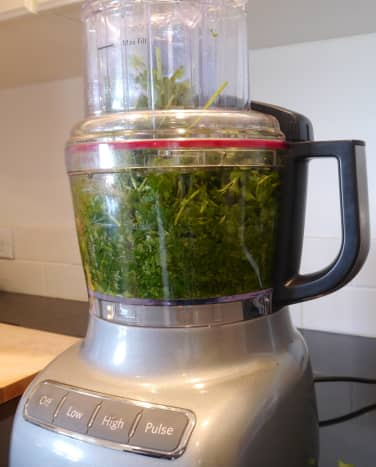 Process until the cilantro is completely shredded.