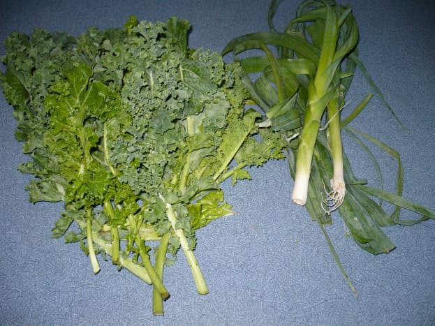 Wash leeks and kale in a whole sink of water to allow the dirt to drop off into the sink. These vegetables tend to be really gritty.